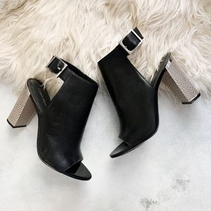 Calvin Klein Black Leather Silver Heeled Shoes